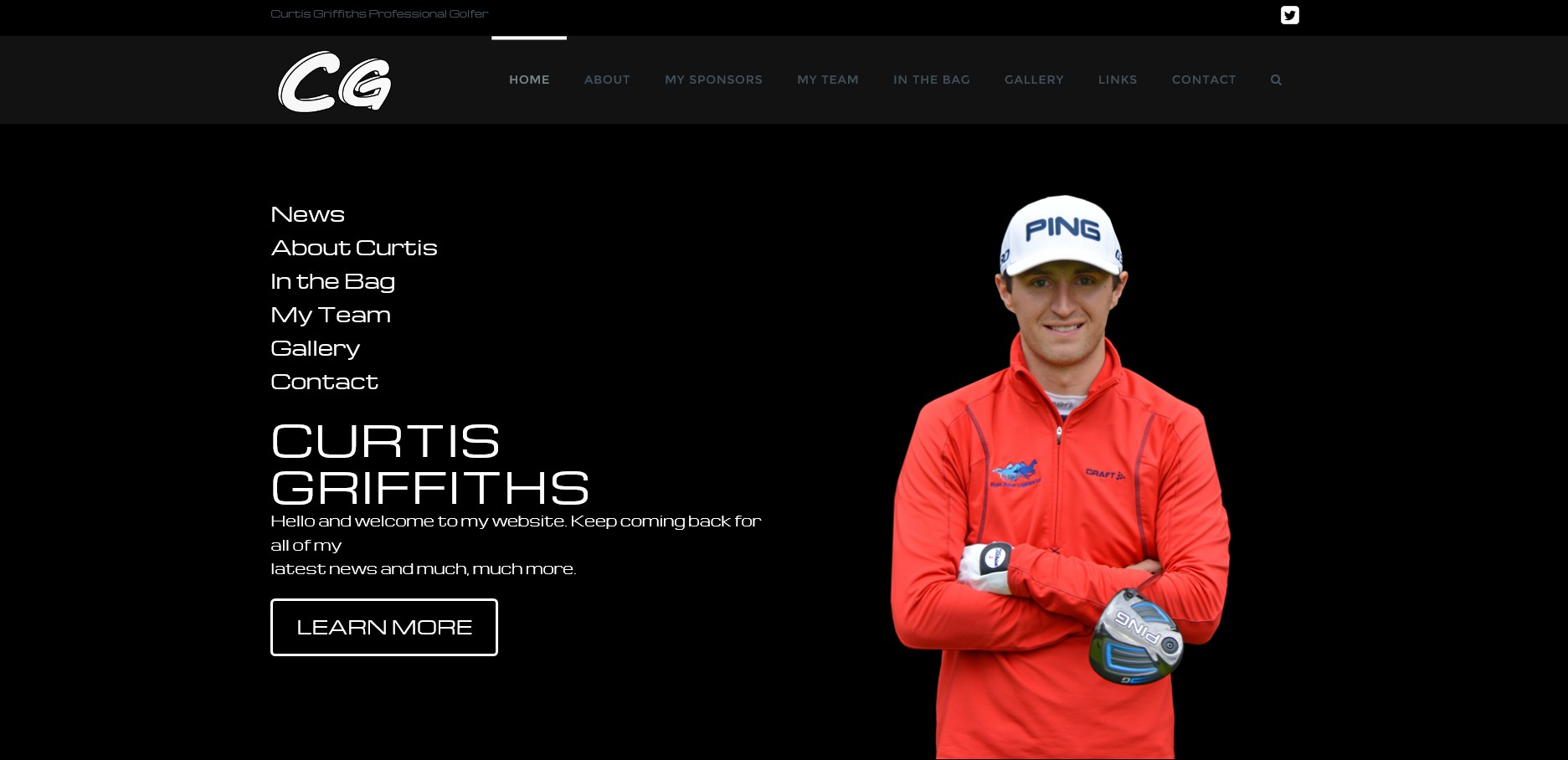 Website for golfer Curtis Griffiths