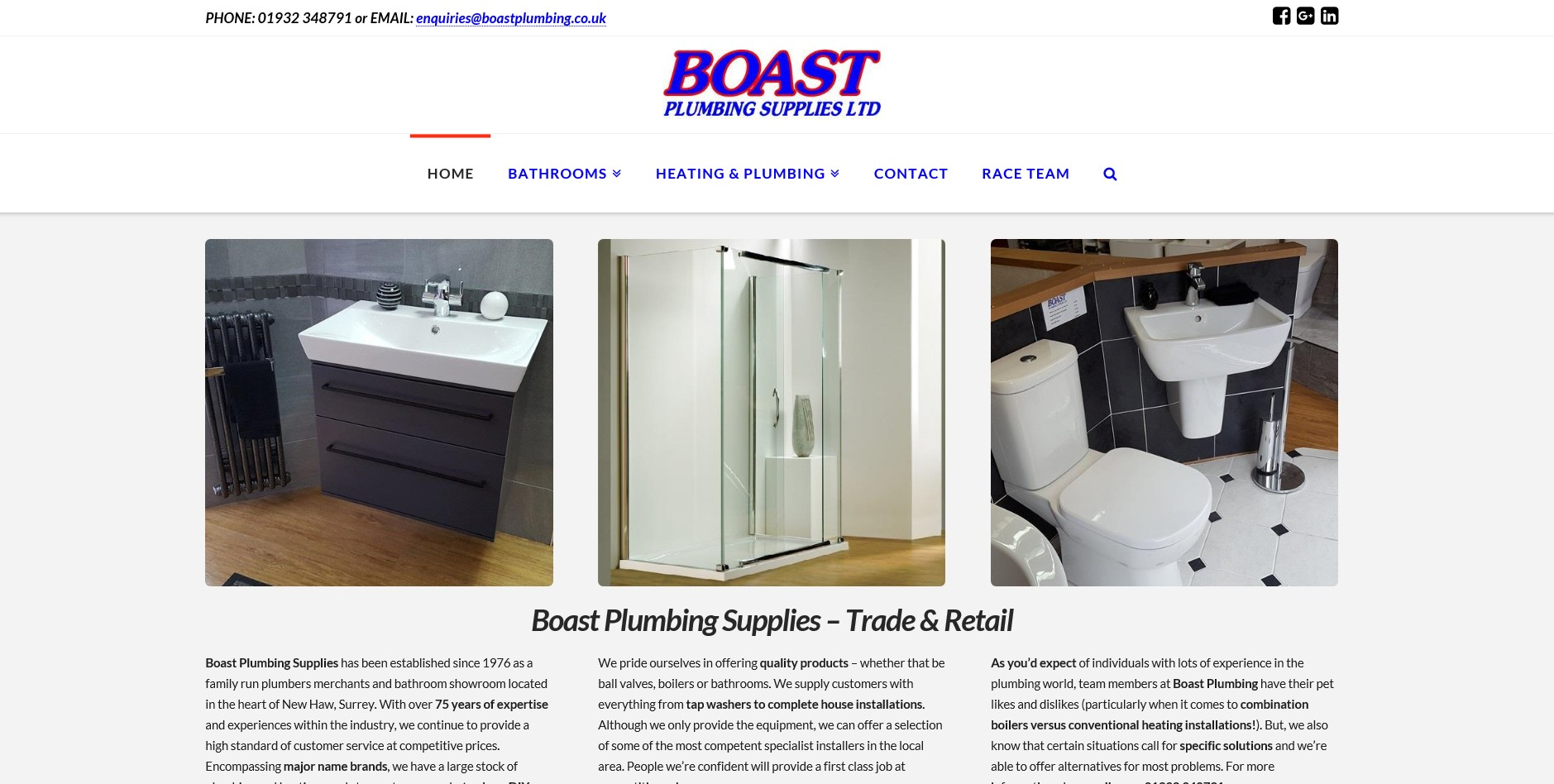 Website for Boast Plumbing