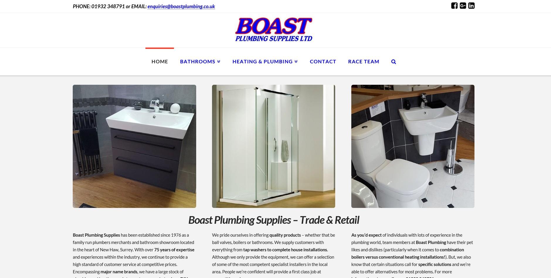 Website for Boast Plumbing